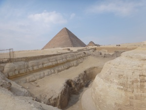 Giza Pyramids behind Sphinx, Giza Plateau, 2011