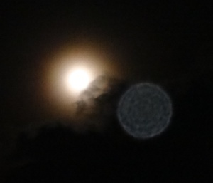 Gibbous Moon and Orb Aug 28, 2015
